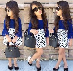 Girls Lace Top, Girls High Waist Skirt, Polka Dot Skirt, Blue Lace Top and Black…