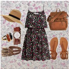 Florals by vill-ain on Polyvore featuring moda, H&M, Aéropostale, Nixon, MANGO, Monsoon and Osborne & Little