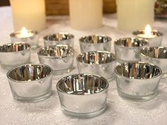 BANBERRY DESIGNS Silver Glass Tea Light Candle Holders - Set of 72 - Metallic Silver Candle Holders - Wedding Centerpieces - Silver Decorations - Anniversary Decorations - Glass Candle Holders Cheap Candle Holders, Glass Tealight Candle Holders, Silver Candle Holders, Glass Tea Light Holders, Christmas Candle Holders, Candle Holders Wedding, Glass Candle Holders, Tea Light Candles, Silver Decorations