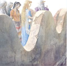 Helen of Troy reviews the Greek/Achaean Champions with King Priam from atop the walls of Troy by Alan Lee (The Iliad/Black Ships Before Troy)