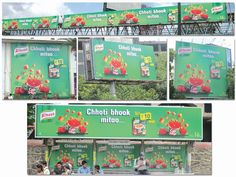 """Knorr Goes Local With """"Chhoti Bhook Mitao"""" !!!  Unilever -India teamed up with Encyclomedia to enhance their creative and literally enliven the experience of having a tomato soup with fresh & crispy bread crumbs amongst it' TG for their OOH campaign."""