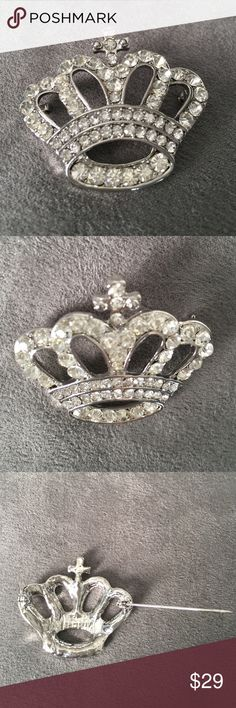 Royalty Pin Silver Studded Crown Brooch  Royalty Pin Silver Studded Crown Brooch  Perfect for the King or Queen in your Life! MoonBunnies Jewelry Brooches