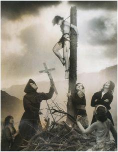 """William Mortensen, """"Untitled (staked witch scene)"""" (ca. 1927), silver gelatin print, montaged effect"""