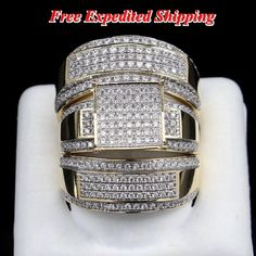 Diamond 14K Yellow Gold Trio His And Her Bridal Wedding Band Engagement Ring Set #affordablebridaljewelry
