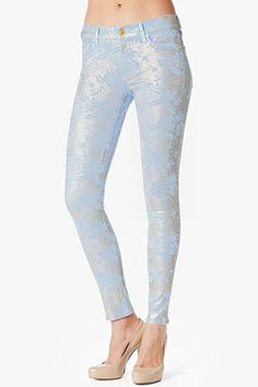 I'm obsessed with The Skinny in Light Cerulean Floral Sprayed Lace Cerulean, Look Alike, Second Skin, Precious Metals, Everyday Fashion, Metallic, Skinny Jeans, Joy, Style Inspiration
