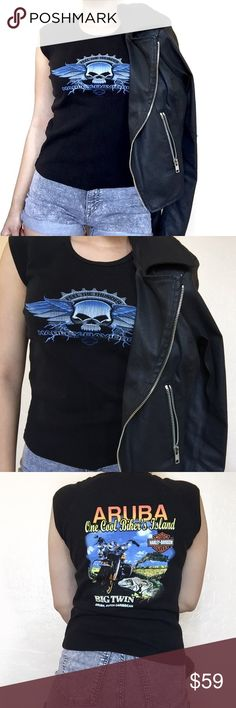 • Harley Davidson • Skull Tank Ride off in this black Harley Davidson tee featuring a skull graphic at front. Looks great with ripped skinnies and ankle boots or a leather skirt and heels. Good vintage condition Harley-Davidson Tops