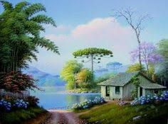 Imagem relacionada Cool Landscapes, Beautiful Landscapes, Pictures To Paint, Art Pictures, Landscape Art, Landscape Paintings, Cottage Art, Beautiful Paintings, Watercolor Art