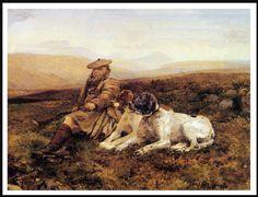 Pointer dogs and Scottish gamekeeper