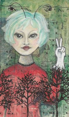 Bombeck Work Mixed media collage, original painting