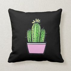 Cute Cactus Pink Pot Throw Pillow Dorm Pillows, Throw Pillows, Cactus, Christmas Card Holders, Custom Pillows, Knitted Fabric, Keep It Cleaner, Make It Yourself, Knitting