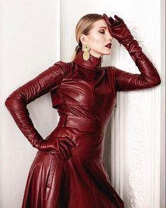 Leather Mini Dress, Leather Dresses, Leather Gloves, Leather Jacket, Red Leather, V Instagram, Leder Outfits, Thigh High Boots Heels, Leather Fashion