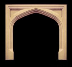 Gothic/Tudor Style Wood Fireplace Mantel with hand carved apron ...
