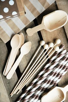 Cute things for creating a Hot Cocoa Bar! hotcocoa, mini wooden scoops, brown striped straws, kraft favor bags, polkadots