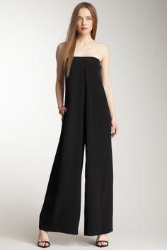tibi Mila Silk Strapless Jumpsuit