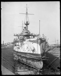 Museum of the City of New York - Battleship Connecticut, in dry dock, Brooklyn Navy Yard.