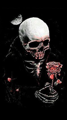 Dark Skull Rose Evil Clown Tattoos, Grim Reaper Art, Gothic Wallpaper, Skeleton Tattoos, Skull Pictures, Bad Art, Evil Clowns, Deer Skulls, Dope Art