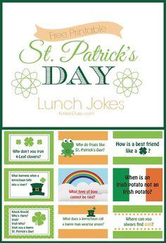 St. Patrick's Day Lunch Jokes for Kids = school lunchbox laughs! | KristenDuke.com