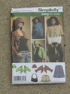 Simplicity 4428 size xs-xl jacket cape hat and bag sewing pattern