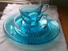 Lot 6 Vintage Hazel Atlas Glass Blue Capri Dot Dinner Plates,Tea Cups & Saucers
