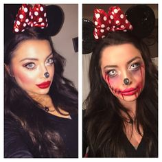 Minnie Mouse to Zombie Minnie Makeup (αποκριες - halloween)