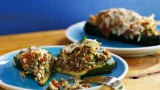 Meat and Herb Stuffed Zucchini Rachael Ray Roast zucchini upside down. Chicken Pizza Recipes, Beef Recipes, Cooking Recipes, Healthy Recipes, Mexican Recipes, Shrimp Recipes, Cooking Ideas, Healthy Meals, Food Ideas