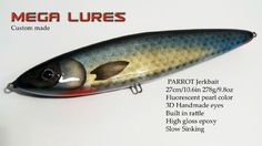 Custom Lure JerkBait Mega Lures Wood Handmade Muskie Pike Bass Fishing 10.6in  #MegaLures