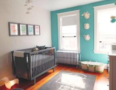 turquoise wall with grey