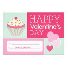 Cupcake & Hearts Kids School / Classroom Valentine Announcements