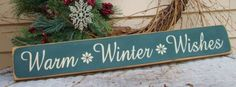 Warm Winter Wishes primitive wood Christmas by pattisprimitives, $18.50