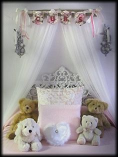 Shabby Chic Princess Bed Crown Canopy Crib Baby Nursery Decor Princess Girlu0027s Bedroom FREE White SaLe & Bedroom Girls Bed Crib Canopy white Padded Hot pink tulle swag and ...