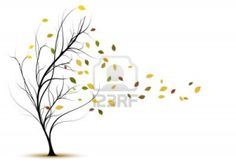 decorative tree silhouette in autumn with brown leaves and wind Stock Photo - 10933004