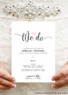 Wedding invitation, typography , elegant pink heart wedding invitation - Pink Nerd Printables