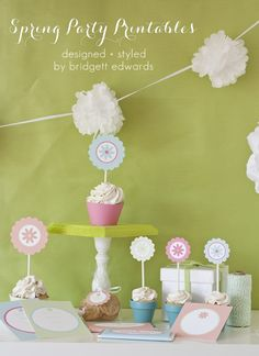 Free spring printable party collection of invitations, candy bar wrappers, cupcake wrappers, and food labels.