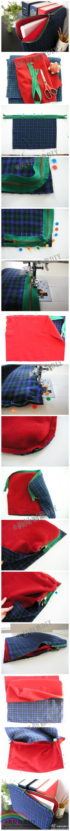 tutorial pc case or exam holder or document holder. also tablet case DIY sewing… Sewing Hacks, Sewing Tutorials, Sewing Patterns, Fabric Crafts, Sewing Crafts, Sewing Projects, Sewing Diy, Techniques Couture, Sewing Techniques