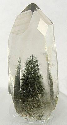 Christmas tree in quartz I'm a big fan of inclusions in gems like these wonderful intergrown needles (known as acicular crystals) of actinolite in a prism of silicon dioxide. A member of the extensive amphibole family of minerals, there are several. Cool Rocks, Beautiful Rocks, Minerals And Gemstones, Rocks And Minerals, Rock Collection, Mineral Stone, Rocks And Gems, Stones And Crystals, Gem Stones