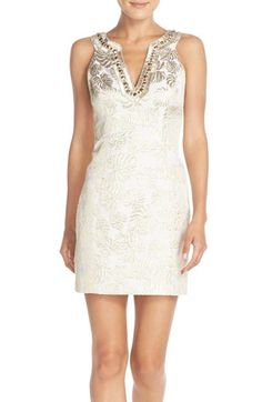 49b50c36cbbd Lilly Pulitzer®  Valli  Embellished Jacquard Shift Dress available at   Nordstrom Palm Tree