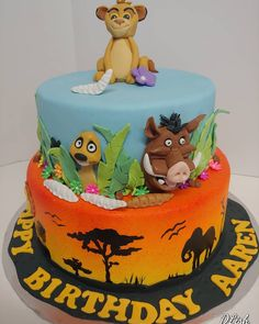 Lion King #lionking #Africa #timon #pumbaa #sunset #sunrise #silhouettes #wildanimals #trees #simba #cake #dlish Silhouette S, Birthday Cakes, Sunrise, Lion, Africa, Trees, Desserts, Anniversary Cakes, Leo