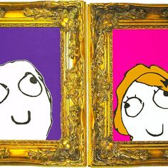 Derp & Derpina. I painted these on watercolor paper and actually framed them in these ornate frames. They're quite large and I like them side by side.