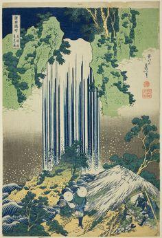 (Japan) Yoro waterfall in Mino province, 1830 by Katsushika Hokusai woodblock print. Art Occidental, Japanese Woodcut, Art Chinois, Art Asiatique, Katsushika Hokusai, Kunst Poster, Art Japonais, Poster Prints, Art Prints