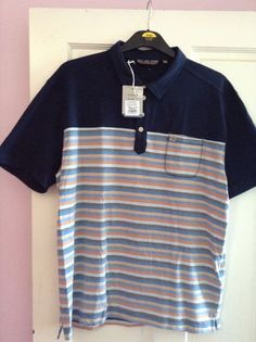 DUCK & COVER KNOX POLO SHIRT NAVY BLUE STRIPED