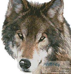Wolf Face cross stitch pattern.