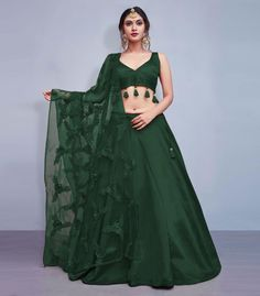 It can be cutomized upto Bust & Waist Size 42 inches Work Type: Thread Embroidery with Flowers & Tassels Blouse Color: Black Lehenga Color: Black Dupatta Color: Black Blouse Fabric: Art Silk Lehenga Fabric: Art Sil Indian Lehenga, Plain Lehenga, Half Saree Lehenga, Green Lehenga, Lehnga Dress, Silk Lehenga, Banarsi Saree, Lehenga Choli Designs, Ghagra Choli