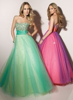 Ball Gown Strapless Beaded Bodice Ruched Waistband Tulle Prom Dress-sop0078, $244.95