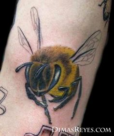 Full Color Bee Tattoo by Dimas Reyes
