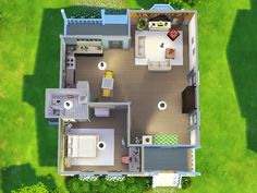 An open-plan and colourful 1br, 1ba starter home, with a welcoming porch and plenty of natural light perfect for 1 sim or a couple! Found in TSR Category 'Sims 4 Residential Lots'