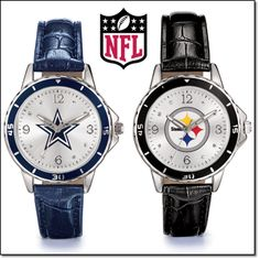"Women's NFL Watch. Your team is always #1 with these stylish watches. Silvertone case with leatherlike strap, 9"" L."