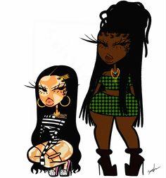 Black Girl Cartoon, Black Girl Art, Black Women Art, Drawings Of Black Girls, Black Art Painting, Comic Art Girls, Black Art Pictures, Black Anime Characters, Cartoon Outfits