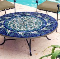 KNF - Neille Olson Mosaics Ocean Waves Oval Coffee Table