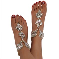 Holylove Beaded Girls' Summer Beach Wedding Bridal Foot Jewelry with Toe Rings
