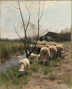 Hermanus Johannes van der Weele (Dutch, 1852-1930) Shepherd with a Flock of Sheep
